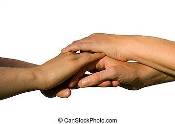some hands symbolizing teamwork - four hands symbolizing...