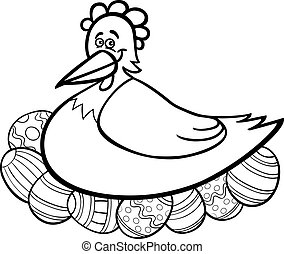 hen hatching easter eggs cartoon for coloring