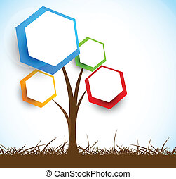Background with tree. Abstract illustration
