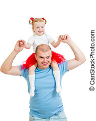 Happy father with daughter isolated on white background