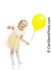 happy child girl with balloon on white background