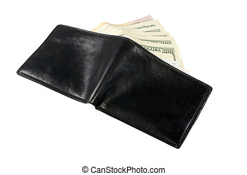 Wallet with dollars - The opened wallet from which the...