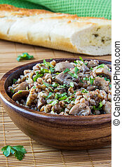 Buckwheat with mushrooms and parsle - Russian traditional...