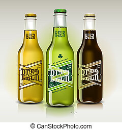 Beer set for St Patrick's Day, vector Eps 10 illustration.