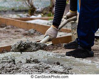 construcción, trabajador, Mezclar, cemento