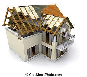 casa, sotto, costruzione