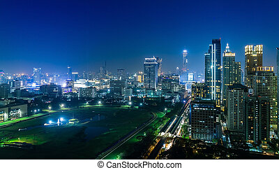 Bangkok city night view and sport stadium, Thailand