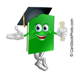 Graduate education book mascot - Illustration of a green...