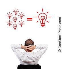 lightbulbs formula - businessman looking at lightbulbs...