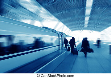 passengers - High speed train passengers are boarding