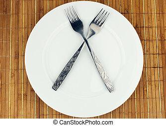 White plate, fork crosswise