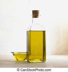 Olive Oil in Bowl and Bottle