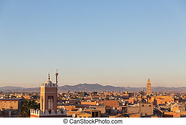 Marrakesh - Sunset at Marrakesh in Morocco, skyline with...