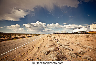 Cargo locomotive railroad in Arizona desert - Cargo...