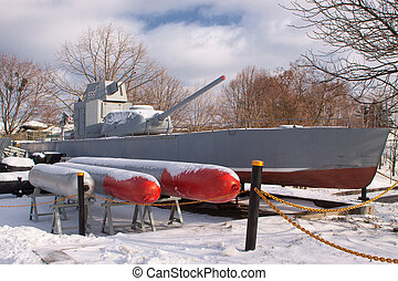 Old Soviet military boat during the Second World War