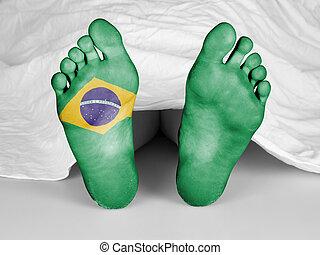 Dead body under a white sheet, flag of Brazil