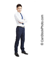 full length of Handsome young asian businessman