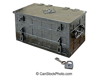 Casket and lock - Old armoured money casket with padlock and...