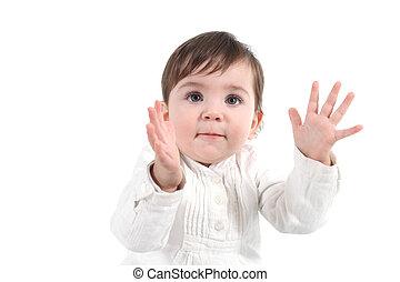 bebê,  clapping, Feliz