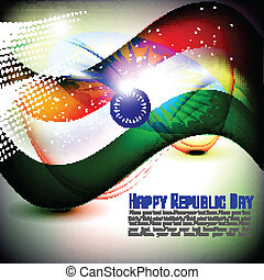 Vector illustration of Indian flag for Republic Day and Independence Day in shiny background.