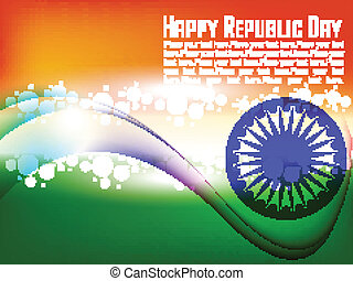 Vector illustration of Indian flag for Republic Day and Independence Day in shiny wave background.