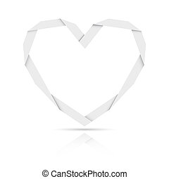 origami paper heart - Origami style paper heart graphic...
