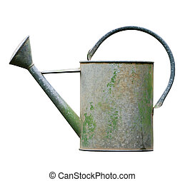 Watering can isolated on white - Aged metalic watering can...
