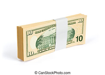 Wad of 10 dollar bank notes isolated on white. Clipping path...