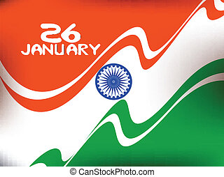 Vector illustration of Republic Day in smooth wave with...