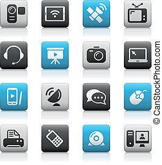 comunicación, iconos, //, mate, serie
