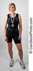Physically Fit Senior Women Athlete Medal Winner