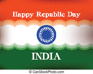 Vector illustration of  Republic Day in smooth wave with shiney color.