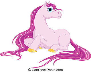 magic pony - magic horse with a pink mane and tail on a...