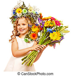 わずかしか, 花, 女の子, ヘアスタイル