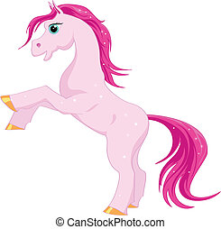 Pink magic horse with pink mane and tail on a white...
