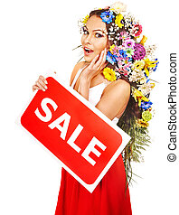 Woman holding sale banner and flower Isolated