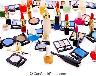 Decorative cosmetics and flower Isolated