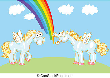 Two cartoon horse with wings and a rainbow - Two cartoon...