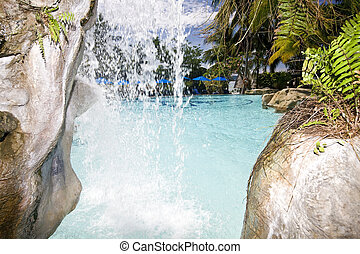 Mountain waterfall in malaysia rainforest.