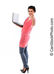 Young happy woman with laptop
