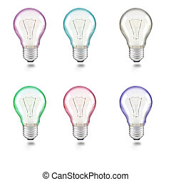 mixed color of light bulb on white