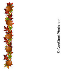 Autumn Fall Leaves and Pumpkins - Image and Illustration...
