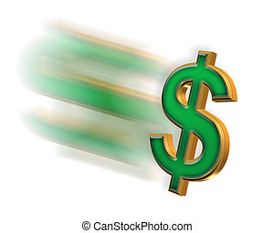 Fast Money Symbol - Illustrated dollar sign with motion blur