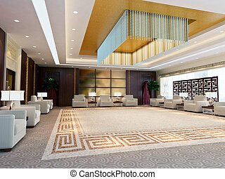 3d large reception room rendering - a large reception room3d...