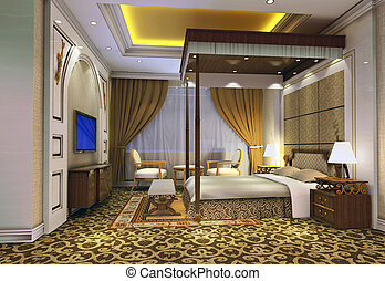 3d bedroom rendering - modern design interior of bedroom. 3D...