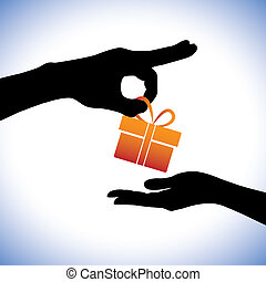 Concept illustration of person giving gift package to the...