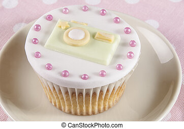 cupcake with camera made from fondant - vanilla cupcake with...
