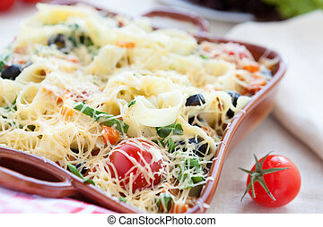 macarronada, queijo, ASSADO, Forno