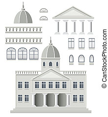 Set of antique - Vector set of antique house on a white...