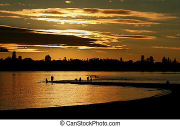 Sunset Fishing at Point Walter, Swan River, Perth. - People...